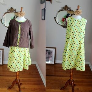 Vintage 1960's Polka Dot Swing Dress + Jacket